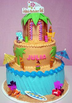 For more information regarding birthday, shower and other custom cakes, please contact us. Ocean Cakes, Beach Cakes, Luau Birthday, Birthday Cake Girls, Birthday Ideas, Happy Birthday, Nalu, Hawaii Cake, Hawaii Hawaii