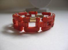 Art Deco genuine Coral &14K gold Link Bracelet. Likely Italian.