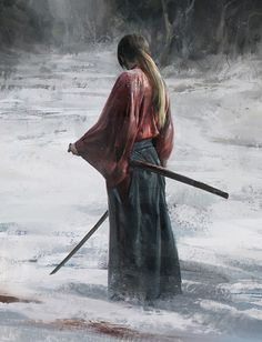 Art by . 逸 - The Art Showcase Ronin Samurai, Samurai Anime, Samurai Champloo, Samurai Jack, Samurai Warrior, Samurai Swords, Rurouni Kenshin, Kenshin Anime, Kenshin Le Vagabond