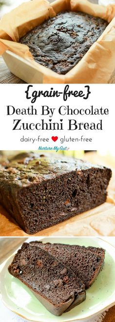 This is the Ultimate Grain-free Death by Chocolate Zucchini Bread. Beware~this is very addictive! Free of gluten, grains, nuts and dairy.
