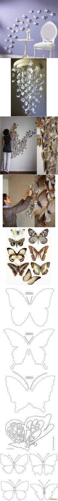 DIY Butterfly Pattern Wall Decor DIY Butterfly Pattern Wall Decor by diyforever Diy Butterfly, Butterfly Shape, Butterfly Pattern, Butterfly Mobile, Butterfly Template, Butterfly Design, Butterfly Outline, Butterfly Project, Crown Template