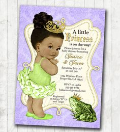 Princess and the Frog Invitation Frog Prince Baby Shower or Birthday Invitation