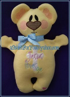 BeAR Jesus Loves Me Applique 3D Plush Softie ITH by astitchforyou (Craft Supplies & Tools, Patterns & Tutorials, Embroidery, digitized design, gift, Girl, baby, Boy, Plush Toy, rattle, Doll, Easter, Bear, Jesus Loves Me, Bible)