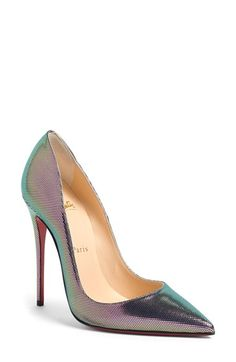 An iridescent finish intensifies the modern glamour of these signature pumps, while the iconic red sole pops with every strut // Christian Louboutin. Cheap Christian Louboutin, Red High Heels, Black Shoes, Chic Chic, Wedge Shoes, Shoes Heels, Converse Shoes, Adidas Shoes, Shoes Sneakers