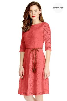 Dress // Brighten up your day with this coral lace crop sleeves A-line dress.