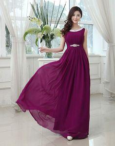 Most Popular Jewel Neck A-Line Long Bridesmaid Dress @ericdress