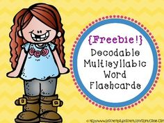 } Decodable Multisyllabic Word Flashcards by Cassie Carr Speech Language Therapy, Speech And Language, Language Arts, Phonics Activities, Language Activities, First Grade Phonics, Reading Stations, Teaching Special Education, Teaching Reading