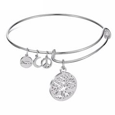18K Plated Stainless Steel Faith Tree Charms Bangle