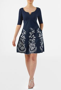 I <3 this Mixed media floral embellished curved empire dress from eShakti