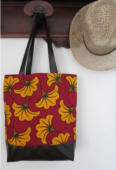 African fabric bag and faux leather african wax bag  by TabantuLab