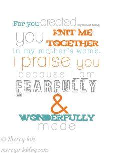 PSALM 139 Christian Nursery Scripture Art Baby Boy Girl Room Decor // Shower Gift // COLOR OPTIONS