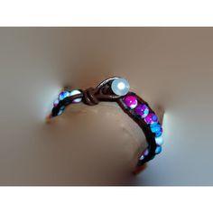 Single Wrap Leather Cuff Bracelet with Multicolor Blue Purple Pink... (705 UYU) ❤ liked on Polyvore featuring jewelry, bracelets, white cuff bracelet, boho jewelry, wrap cuff bracelet, beaded bangles and beaded cuff bracelet
