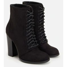 Justfab Booties Cambria ($40) ❤ liked on Polyvore featuring shoes, boots, ankle booties, black, platform ankle boots, black high heel booties, black lace up boots, platform booties and faux suede booties