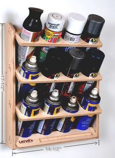 I was getting tired of my spray cans taking up shelf space and constantly falling over so I designed and cut this rack out on our CNC machine using 1/2 Baltic Birch. It works great. Easy to mount using two screws. It also has a little pocket to store nozzles and those troublesome red spray tubes