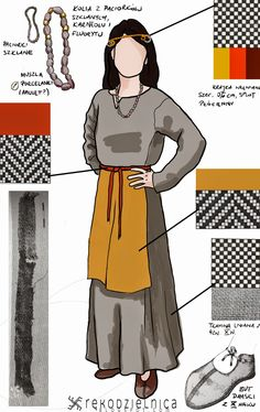 early medieval woman clothing, slavic, findings from Opole in Poland