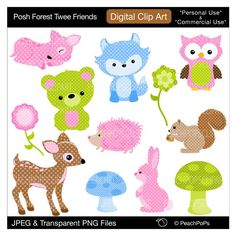 baby woodland clip art por peachpopsclipart