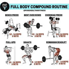 Full Body Workout Plan, Gym Workout Tips, Workout Plans, Fitness Nutrition, Fitness Tips, Compound Exercises, Overhead Press, Self Motivation, Bench Press