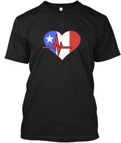 Heartbeat Puerto Rican Flag T Shirt Black T-Shirt Front