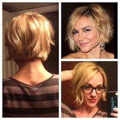 """Much needed makeover today Brought in a pic of my #girlcrush Samaire Armstrong and walked out amazing! No more a-line bob...no more extensions...so…"""