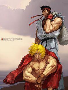 Ryu & Ken, Street Fighter artwork by Ruki Street Fighter Alpha, Street Fighter Ken, Tekken X Street Fighter, Cartoon Games, Manga Games, Gamer 4 Life, World Of Warriors, Retro Videos, Art Anime
