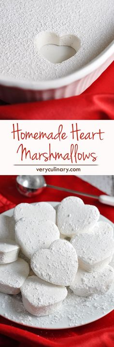 Heart Marshmallows Rich and creamy homemade marshmallows shaped like hearts for Valentine's Day!Rich and creamy homemade marshmallows shaped like hearts for Valentine's Day! Homemade Marshmallows, Homemade Candies, Marshmallow Recipes, Marshmallow Cake, Yummy Treats, Delicious Desserts, Sweet Treats, Yummy Food, Gastronomia