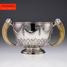 ANTIQUE 20thC EDWARDIAN SOLID SILVER BOWL SET WITH BOAR TUSKS, LONDON c.1904