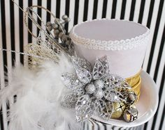 Silver and Gold Mini Top Hat Holiday Hat by LittleMissHattitude