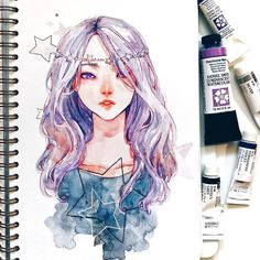 별⭐ I used here my holbein's silver and Daniel Smith's amethyst genuine and mauve duochrome paints and it SHINES LIKE HELL in real life, especially her eyes, I like it so much sketchbook is by @mosseryco btw, if you noticed I use it a lot now, falling in love with it