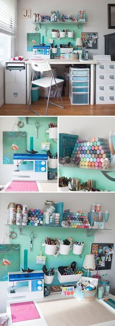 colorful craft room decor - The Urban Interior Craft Room Decor, Craft Room Design, Craft Desk, Craft Room Storage, Craft Organization, Home Decor, Craft Rooms, Craft Tables, Organisation Ideas