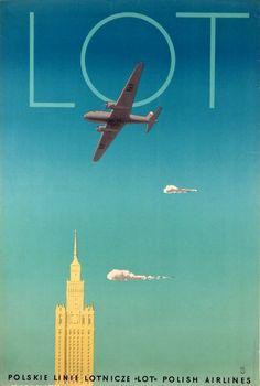 LOT Polish Airlanes Polskie Linie Lotnicze LOT Trepkowski Tadeusz Polish Poster