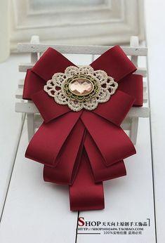 Black bow brooch tie for women. Ribbon Jewelry, Ribbon Art, Diy Ribbon, Ribbon Crafts, Ribbon Bows, Pew Bows, Ribbons, Diy Crafts, Diy Hair Bows