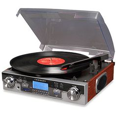 $129.00 Crosley CR6007 #Turntable /AM-FM Radio Detailed Description 3 speed turntable: 33, 45, 78 RPM, USB/SD Card Reader, USB/SD Encoding, Portable Audio Ready [for ipod or mp3 devices], stereo speakers, remote control, Mahagoney colored sides Item No: 56083