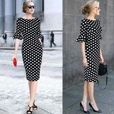Vfemage Women Elegant Flare Trumpet Bell Sleeve Polka Dot Print Vintage Pinup Ca. - - Vfemage Women Elegant Flare Trumpet Bell Sleeve Polka Dot Print Vintage Pinup Casual Work Office Party Bodycon Sheath Dress 7692 2019 New Collection M. Modest Dresses, Simple Dresses, Elegant Dresses, Vintage Dresses, Beautiful Dresses, Casual Dresses, Summer Dresses, Prom Dresses, Bell Sleeve Dress