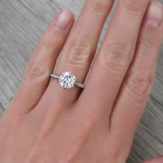 Forever One Colorless Moissanite & Diamond Engagement Ring | Kristin Coffin Jewelry