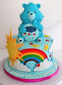 Cake Wrecks - Home - Sunday Sweets: 11 Bright & Bold Cakes for Spring -- Grumpy Bear Care Bear by Celebrate With Cake Pretty Cakes, Cute Cakes, Beautiful Cakes, Amazing Cakes, Baby Cakes, Cupcake Cakes, Cake Wrecks, Care Bear Cakes, Gateaux Cake