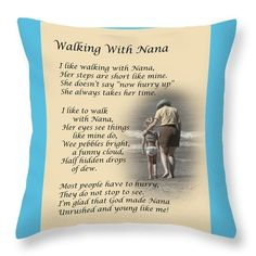 """Sold - Dale Kincaid sold a Throw Pillow - 14"""" x 14"""" (No Insert) of Walking With Nana to a buyer from Boughton, Newark - United Kingdom."""