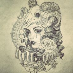 Goat Skull And Girl Head Tattoo Design