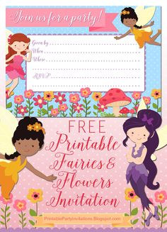#FREE Printable Fairies and Flowers Party Invitation