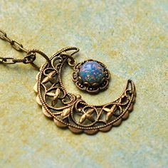 Blue Crescent Moon Necklace Blue Opal and Brass by ElvesGarden