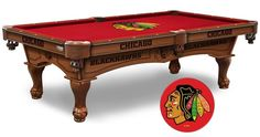 NHL Chicago Blackhawks Pool Table is available in an 8-foot length. The Wood cabinet has CNC and laser cut logos. Available in two finishes. Free installation. Visit SportsFansPlus.com for Details.