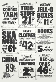 Newspaper design for MoMA garage sale by Kelli Anderson. - So cool! Lightroom, Photoshop, Typography Inspiration, Graphic Design Inspiration, Type Design, Web Design, Typography Letters, Typography Design, Moma