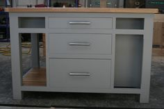Contemporary Modern Kitchen Island unit, solid pine, handmade & painted F&B