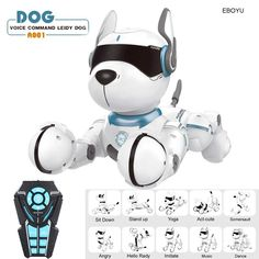Jxd Smart Talking Rc Robot Dog Walk & Dance Interactive Pet Puppy Robot Dog Remote Voice Control Intelligent Toy For Kids on Pet Supplies 8774