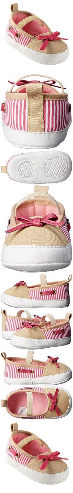 Luvable Friends Girls Boat Shoes (Infant), Beige/Pink, 0-6 Months M US Infant