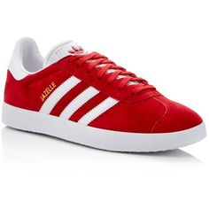 Adidas Gazelle Lace Up Sneakers ($80) ❤ liked on Polyvore featuring men's fashion, men's shoes, men's sneakers, scarlet red, adidas mens sneakers, mens lace up shoes, mens red shoes, adidas mens shoes and mens red sneakers