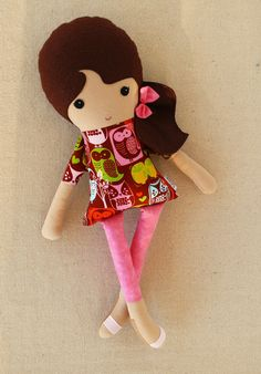 Fabric Doll Rag Doll Girl in Owl Print Dress. $34.00, via Etsy.
