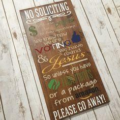 No Soliciting Sign Funny No Soliciting Sign No By LinRedDesigns