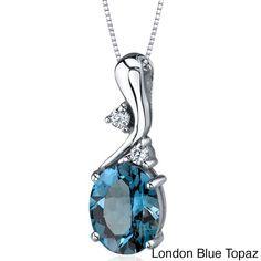 Oravo Sterling Silver Oval Gemstone Pendant Necklace (London Blue Topaz), Women's, Size: 18 Inch