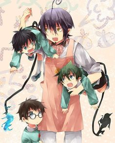 Blue Exorcist ~~ Just more fun at the Demon Day Care with Caregiver Mephisto and his little charges, the twins and Amaimon.