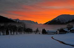 Sunset in Davos, Switzerland